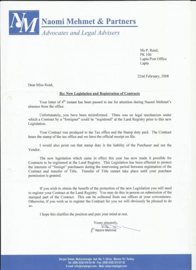 Naomi Mehmet letter confirming could NOT register contract